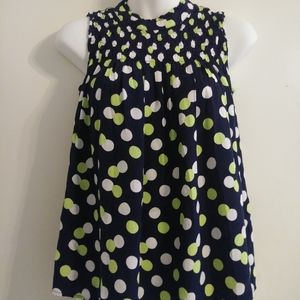 Crown and Ivy Polka Dot Sleveless Blouse XS